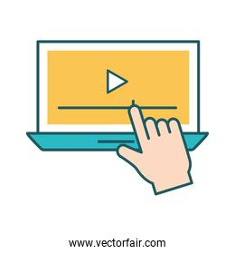 Isolated play on laptop line and fill style icon vector design