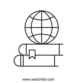 global sphere on ebooks silhouette style icon vector design