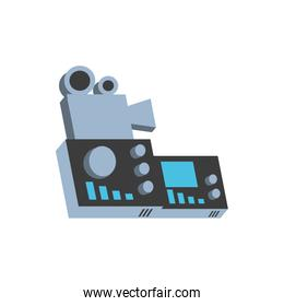 video camera film with audio console