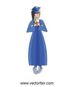yound student girl graduated character