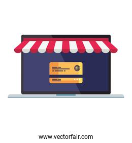 Laptop with tent and credit card vector design