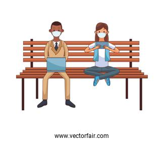 interracial couple wearing medical mask using technology seated in park chair