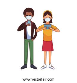 interracial couple wearing medical mask using technology characters