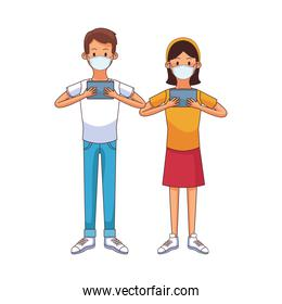 young couple wearing medical mask using technology characters