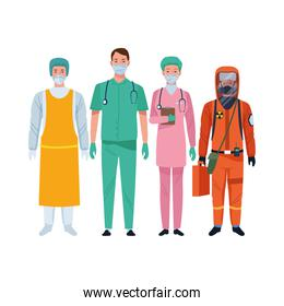 doctors staff wearing medical masks and biosafety suit