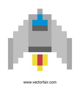 space ship flying 8 bits pixelated icon