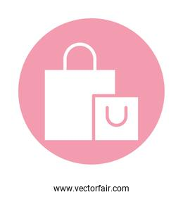 shopping bags block style icon