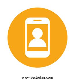 smartphone with user profile block style icon