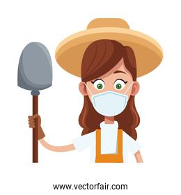 female farmer wearing medical mask with shovel character