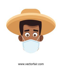afro farmer wearing medical mask character