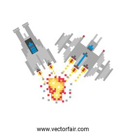 space ships fighting 8 bits pixelated icon