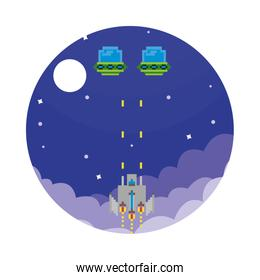 space ship fighting with aliens 8 bits pixelated icon