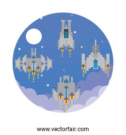 space ships flying 8 bits pixelated icon