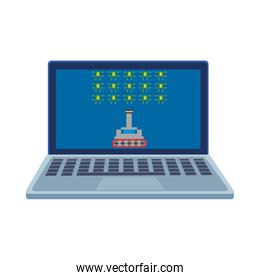 space ship fighting with aliens in laptop 8 bits pixelated icon