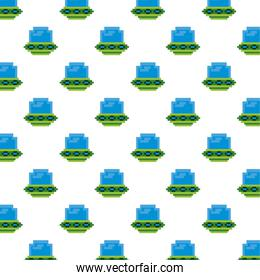 ufos flying 8 bits pixelated pattern