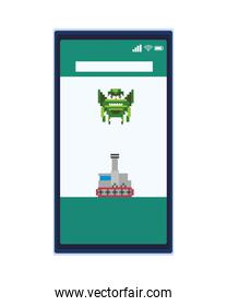 space alien with war tank in smartphone 8 bits pixelated icon