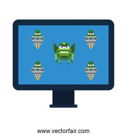space alien with ufos in desktop 8 bits pixelated icon