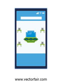 space aliens with ufo in smartphone 8 bits pixelated icon