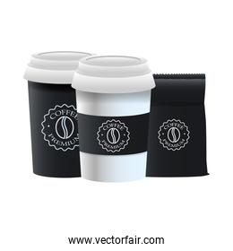 elegant black cups of coffee and packing bag products
