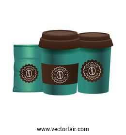 elegant green cups of coffee and packing bag products