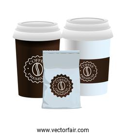 elegant white cups of coffee and packing bag products