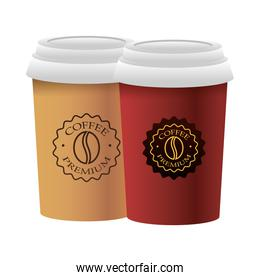 isolated cups of coffee products