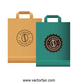 coffee shop elegants green and red shopping bags