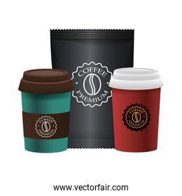 elegant cups of coffee and packing bag products