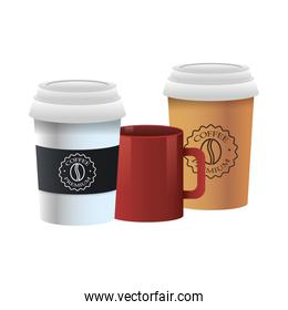 elegant cups and mug of coffee products