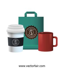 elegant cup and mug of coffee with packing bag product