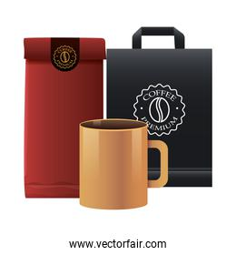 elegant bags and mug of coffee products
