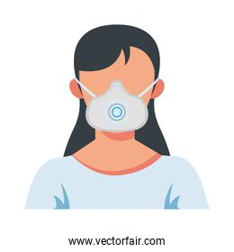 young woman wearing medical mask with filter character