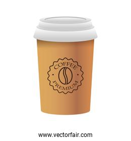 elegant cup of coffee product isolated icon