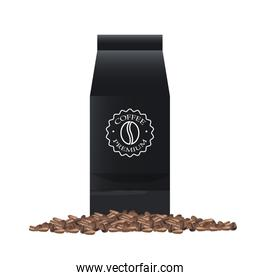 coffee black paper bag elegant packing product with grains