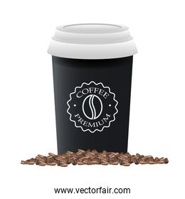 elegant black cup of coffee product with grains