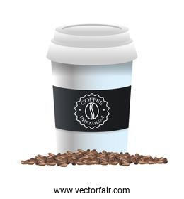 elegant black and white cup of coffee product with grains
