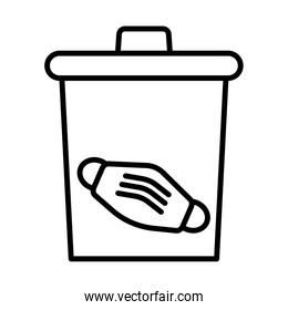 medical mask accessory in waste bin line style icon