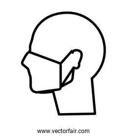 profile using face mask line style icon