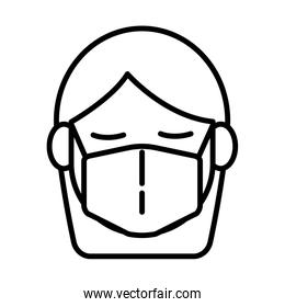 woman using face mask line style icon