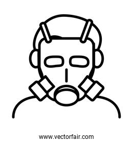 person wearing biosafety mask line style icon