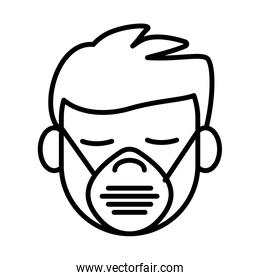 man using face mask line style icon