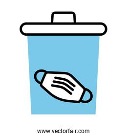 medical mask accessory in waste bin line half color style icon