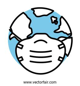 earth planet wearing medical mask line half color style