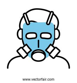 person wearing biosafety mask line half color style icon