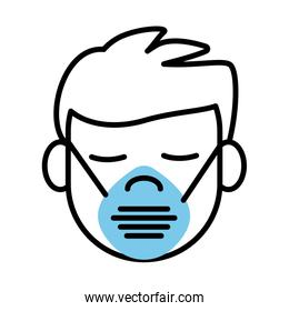 man using face mask line half color style icon