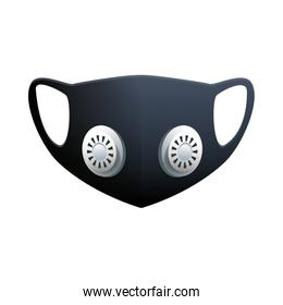 black medical mask protection accessory with filters line style