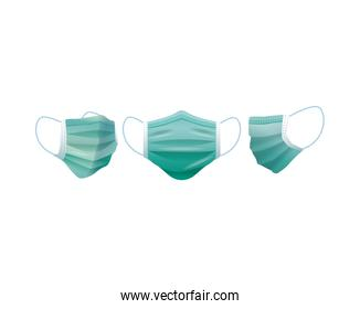 green medical masks protection accessories line style icon