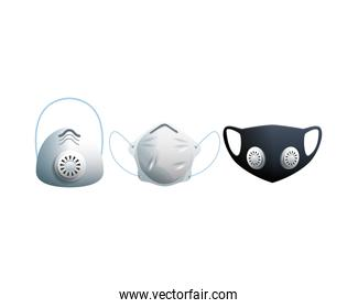 black and white medical masks protection accessories line style icon