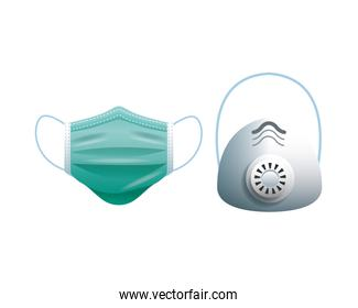 green and gray medical masks protection accessories line style icon