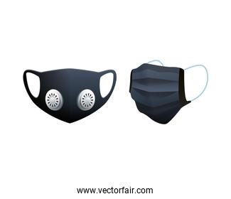 black medical masks protection accessories line style icon